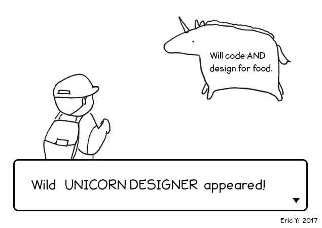 Funny image of a sketched pokemon battle with a trainer and a design unicorn who can also code for food.