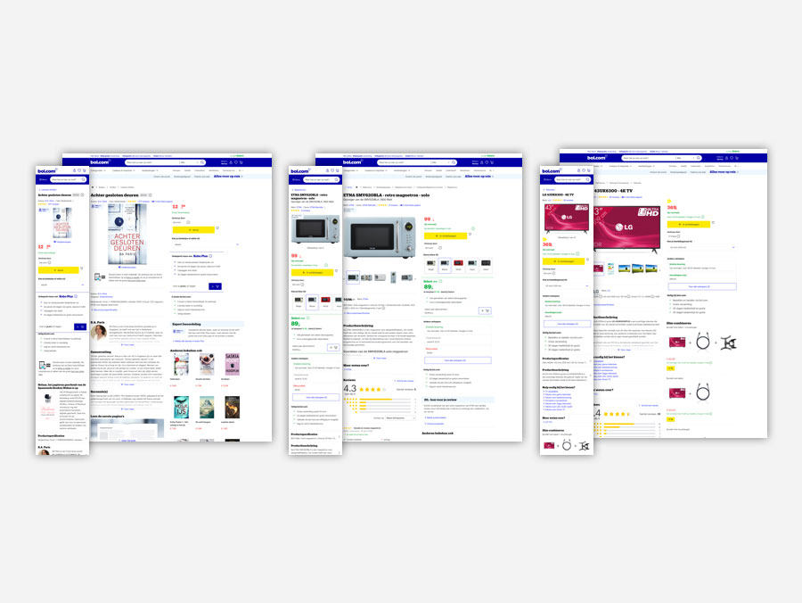 A big image of the buyblock vision with actual content. We made three different product pages to see what kind of effect our decisions had and to test these designs.