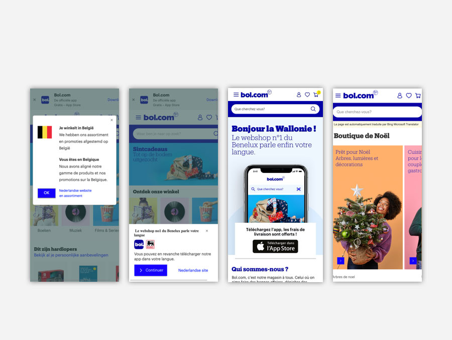 A big image of all the digital pages what we wanted to test. So we show two ways to inform users that they have to go to the app. In a bottom bar and in a typical pop-up. You also see the final design of the landingspage and the machine translated page.